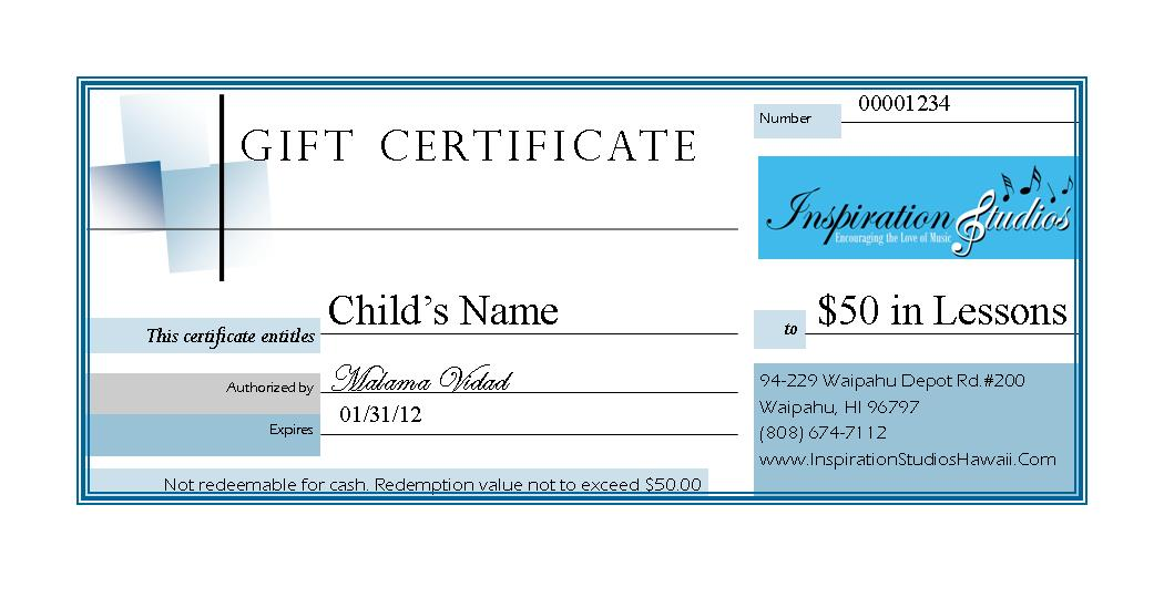 Gift certificate template guitar lessons gallery certificate tuition fees inspiration studios give the gift yadclub gallery yelopaper Images